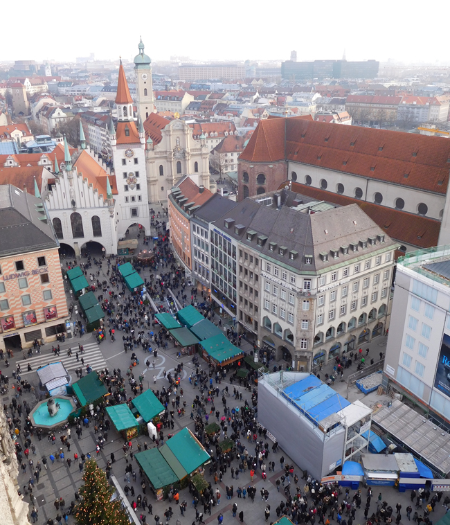 Looking down into Marienplatz from the New Town Hall Tower.