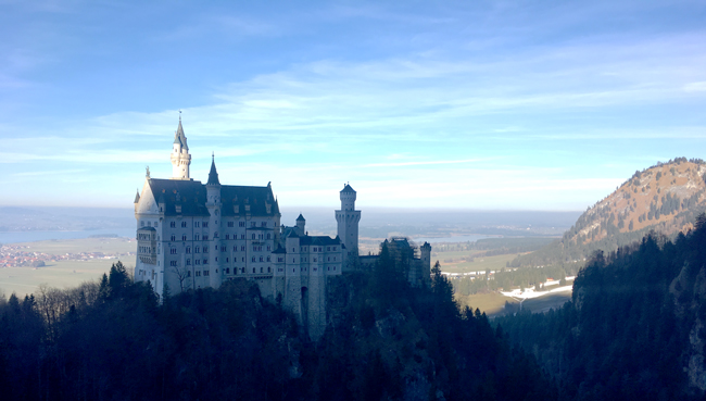Neuschwanstein Castle and beyond from the skinny Marie's Bridge