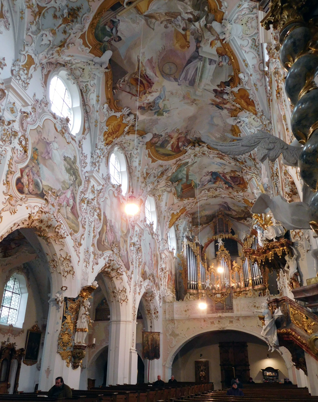 The sumptuous interior of Rottenbuch Abbey