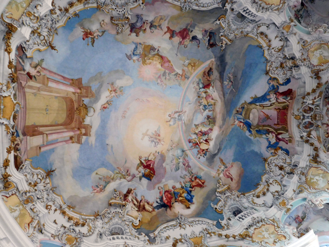 If you can jump high enough, you could knock on Heaven's door - at least knock the door on the ceiling of the Wieskirche