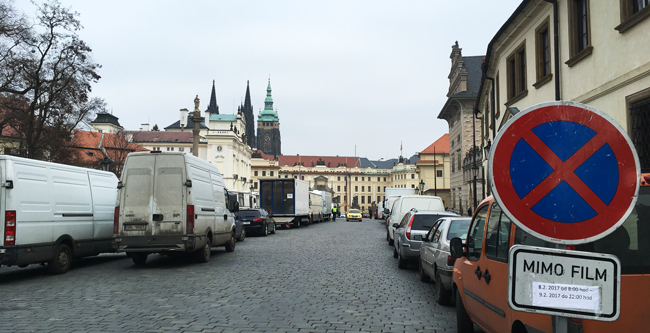 Keira Knightley and Alexander Skarsgård were filming WWII film 'The Aftermath' in the grounds of Prague Castle...we only saw the extras eating lunch so no sneaky long-range selfies.