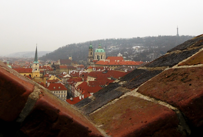 Prague Lesser Town, Petrin Hill and Petrin Tower - from the walls of Prague Castle.