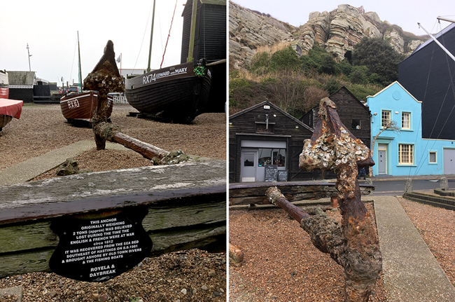 """This anchor originally weighing 2 tons (approx) was believed lost during the time the English & French were at war, circa 1812. It was recovered from the sea bed southeast of Hastings on 8.8.1981 and brought ashore by old town divers and the fishing boats Royela and Daybreak"""