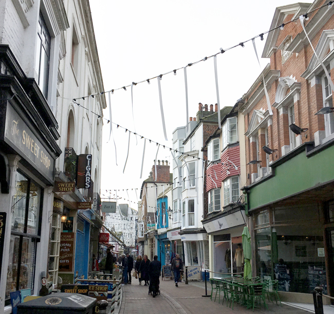 Old Town Hastings - full of quaint cafes, antiques and sweet shops, pubs and of course, bunting!