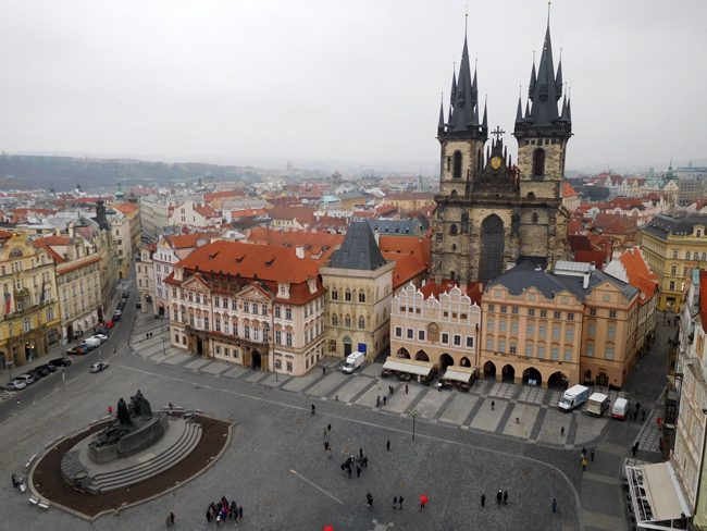 View over the city, Old Town Square and the Týn Church from the Old Town Hall Tower.