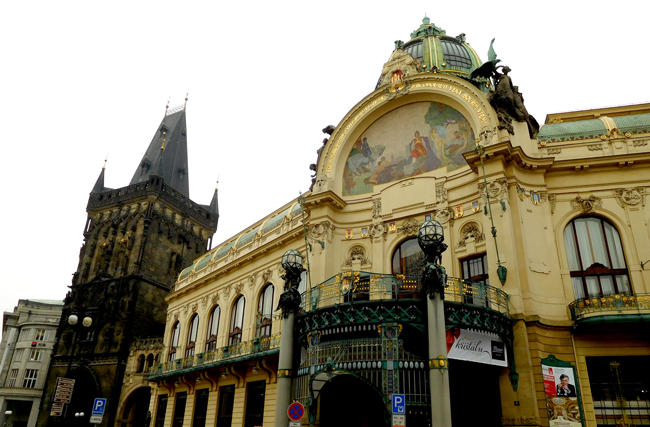 Prague architecture spans centuries side by side. The dark and brooding Powder Gate, a medieval Gothic city gate built in the 1500's stands next to the sumptuous Municipal House, today a theatre, built during the early 1900's Art Nouveau movement.