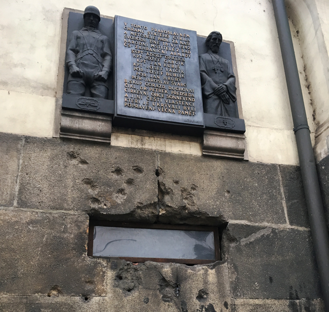 Memorial to the martyrs at St Cyril and Methodius Church, Prague.