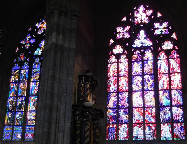 Stained glass in St Vitus Cathedral, Prague Castle.