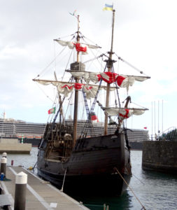 Ye olde worlde booze cruising galleon in Funchal harbour