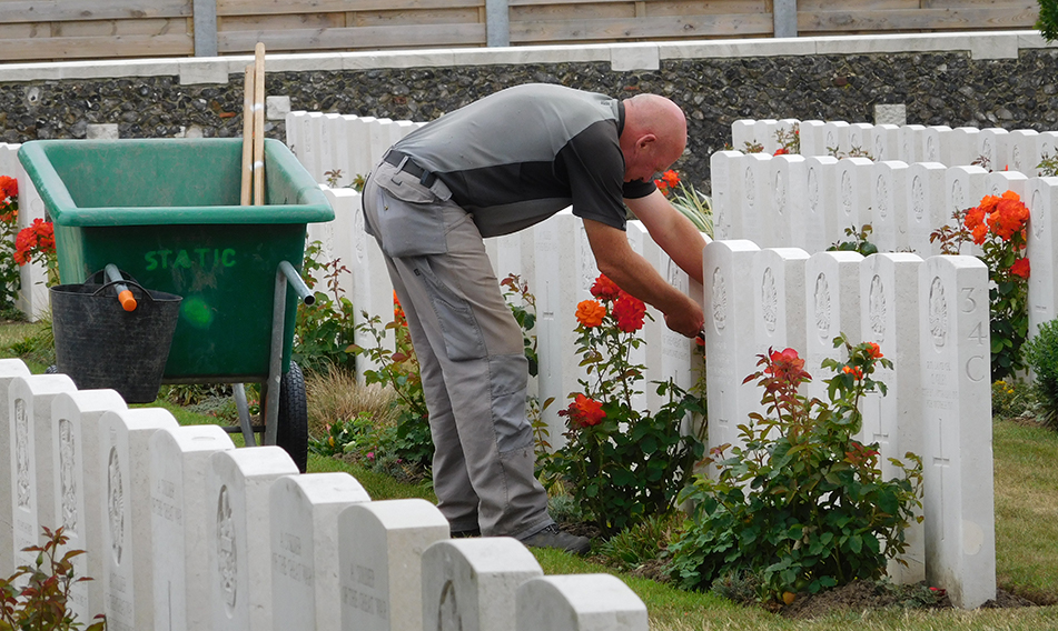 A fleet of gardeners were tending the bright rose blooms and perfectly trimmed lawns in readiness for the commemorations.