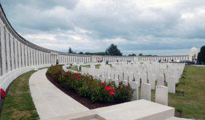 Along the top of Tyne Cot Cemetery is the Tyne Cot Memorial, etched with the names of almost 35,000 servicemen from the UK and New Zealand who died in the Ypres Salient after 16 August 1917 and whose graves are not known