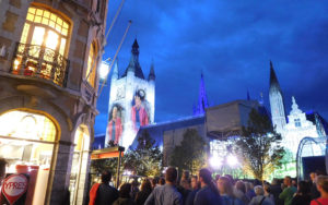 Full rehearsal during dinner included scenes from War Horse projected onto the Cloth Hall belfry