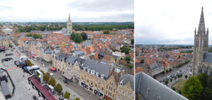 Views over Ypres from the dizzying heights of the Cloth Hall belfry tower.