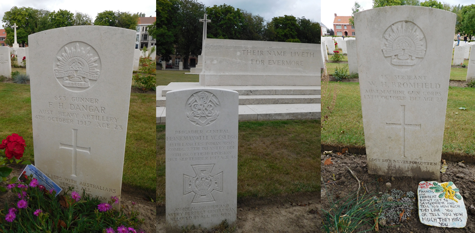 Ypres Reservoir Cemetery burials, including VC recipient, Brigadier General Frank Maxwell.