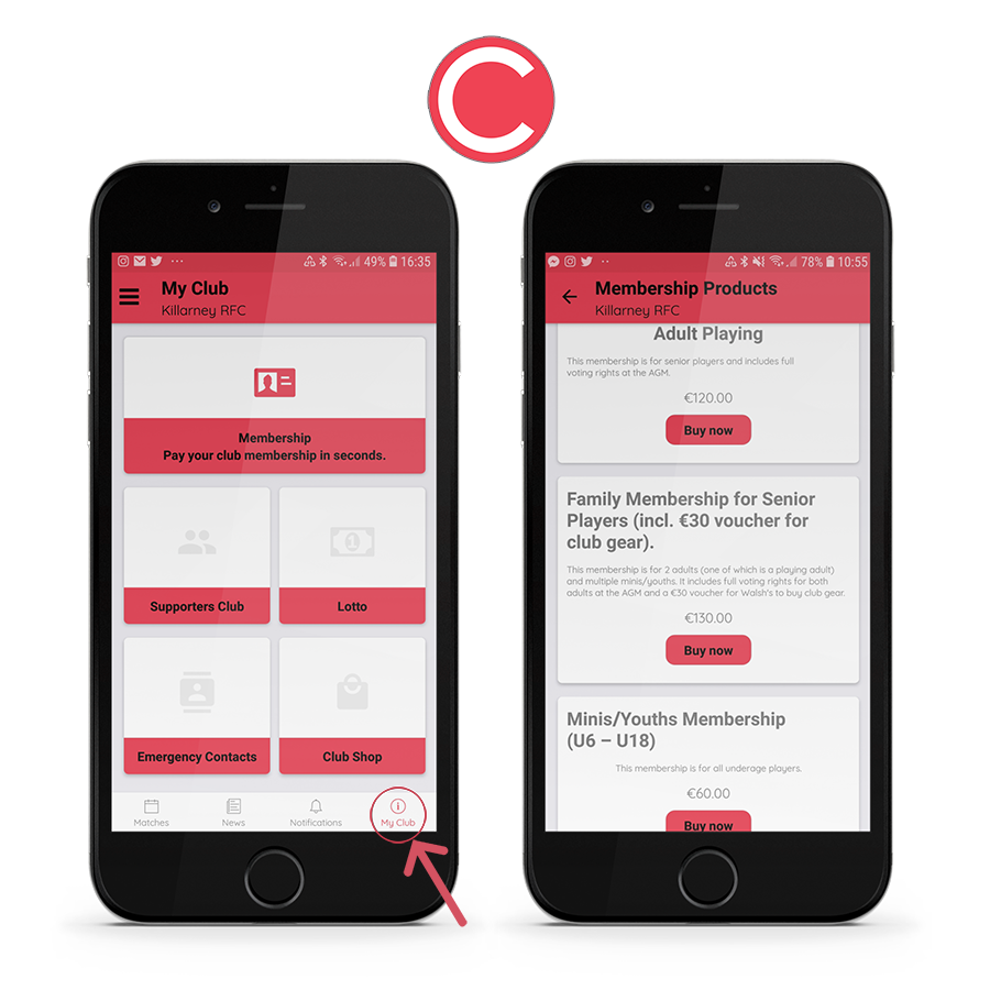 Sign up for your Membership on the Clubify App