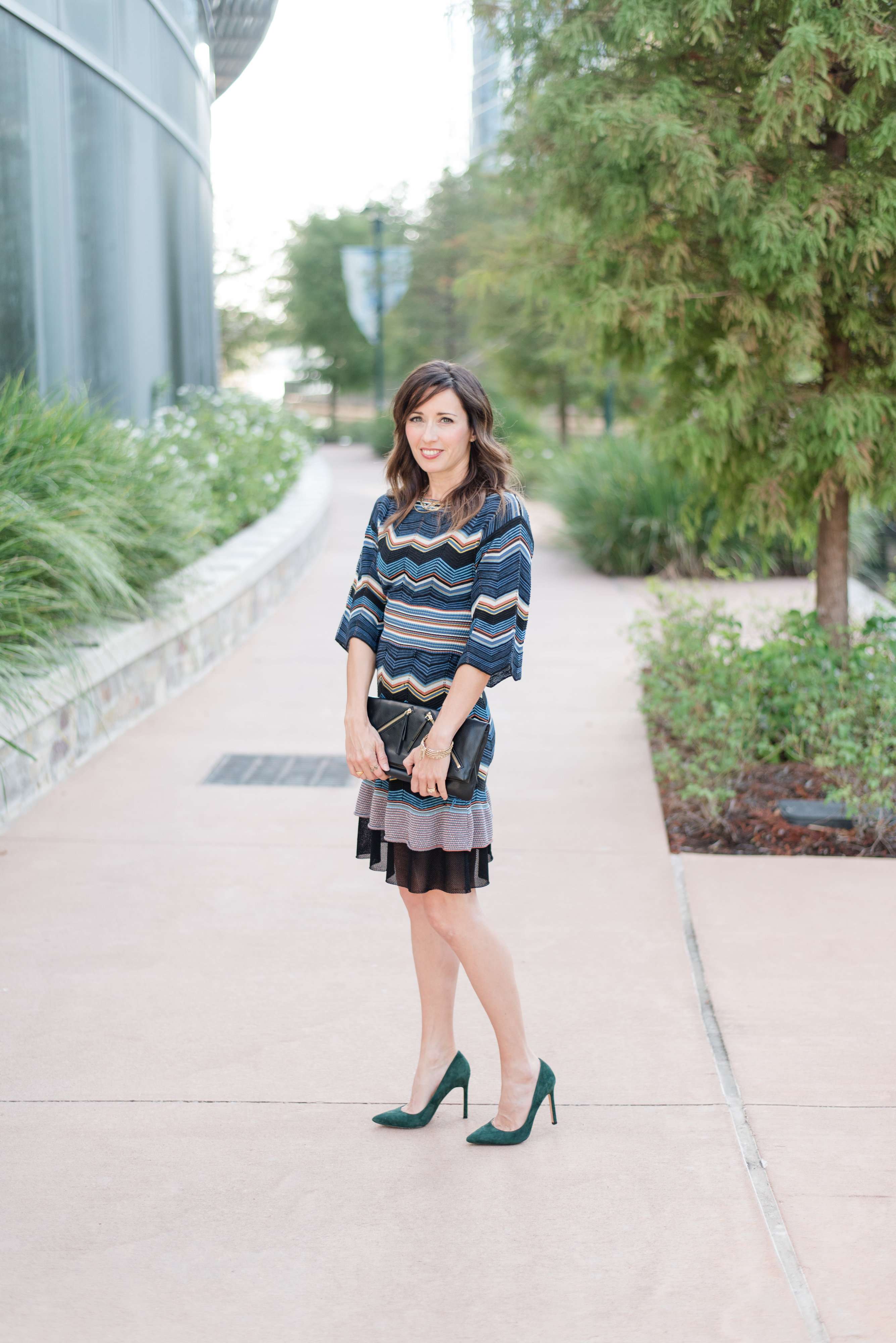 My favorite Fall Dress, accessorizing, mixed metal, necklace, Missoni, zig zag, pretty, leather clutch, fall colors, textures, method39, my style, wardrobe stylist, your stylist, fall fashion