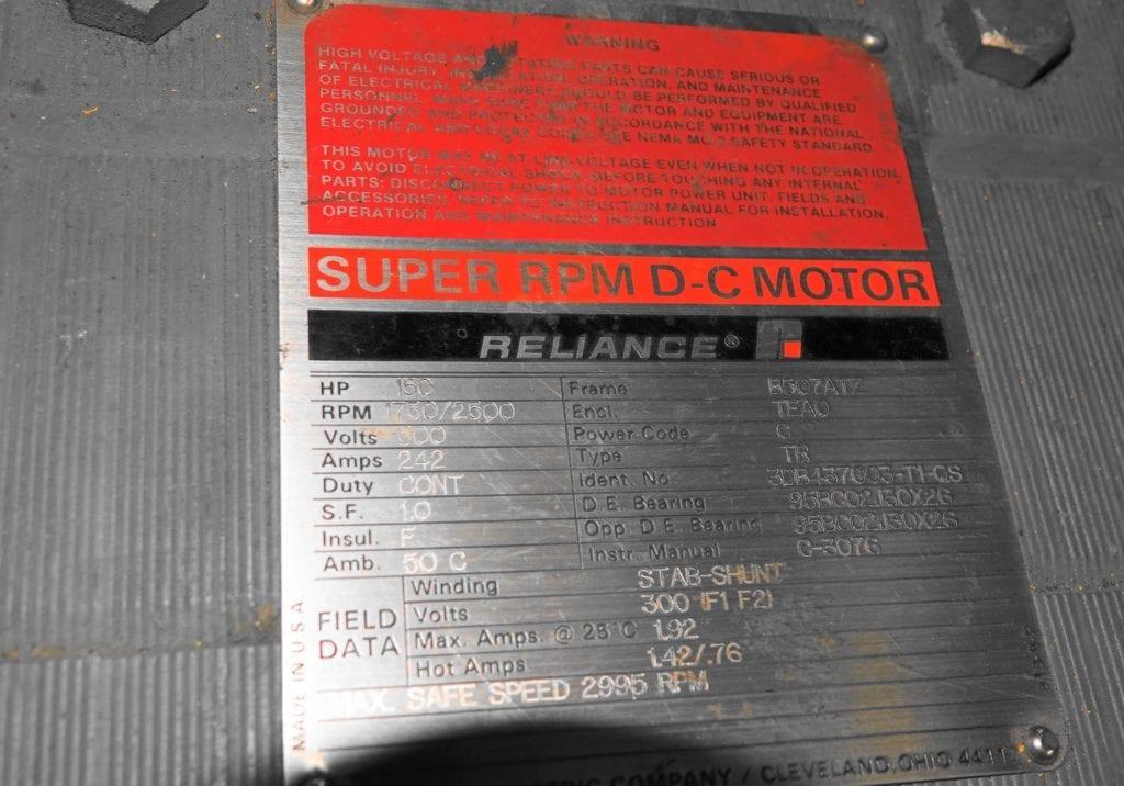 150 hp DC Reliance Motor $15000 USD