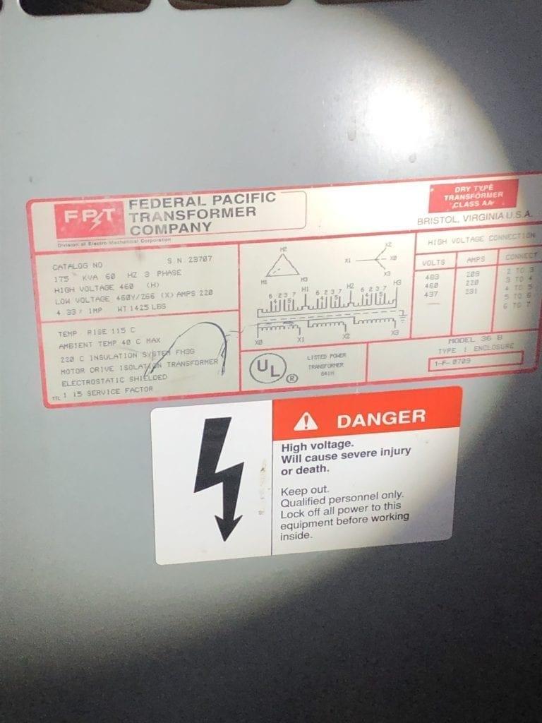 Transformer 175 kVa,   hi volt 460, low volt 460/2666