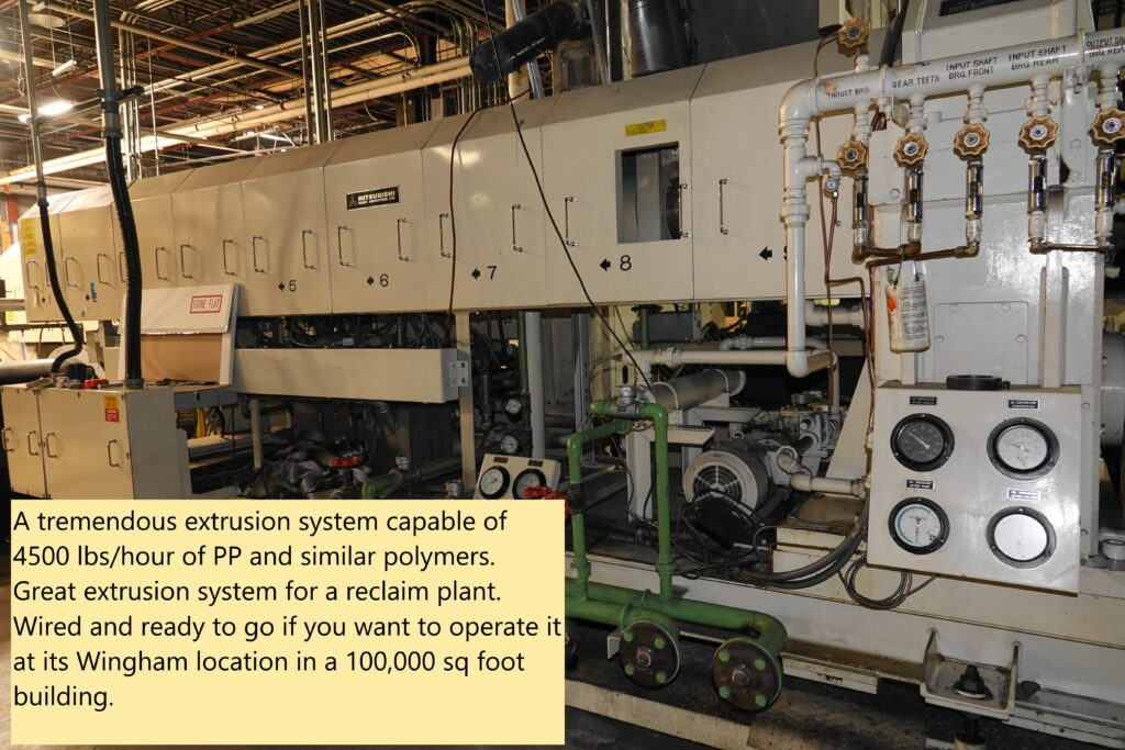 Mitsubishi Tandem (170 mm primary, 250 mm secondary) Extruder with controls and transformers $150,000 USD Great for reclaim plant.