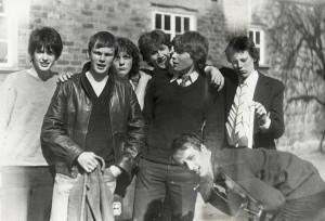 Rick (black jumper) and school friends outside the Sixth Form Common Room, 1981