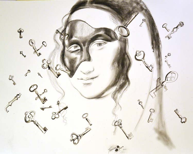 Keys to the Enigma, work on paper, by Tania Sen