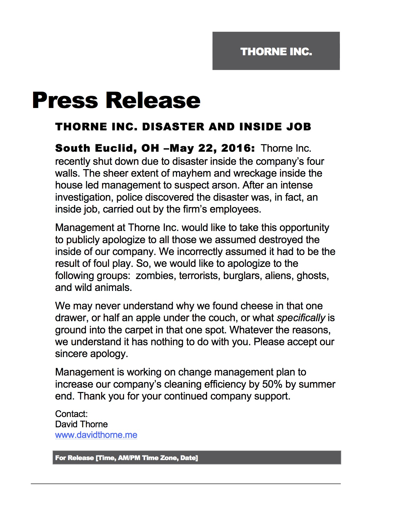 Disaster and inside job press releaes copy