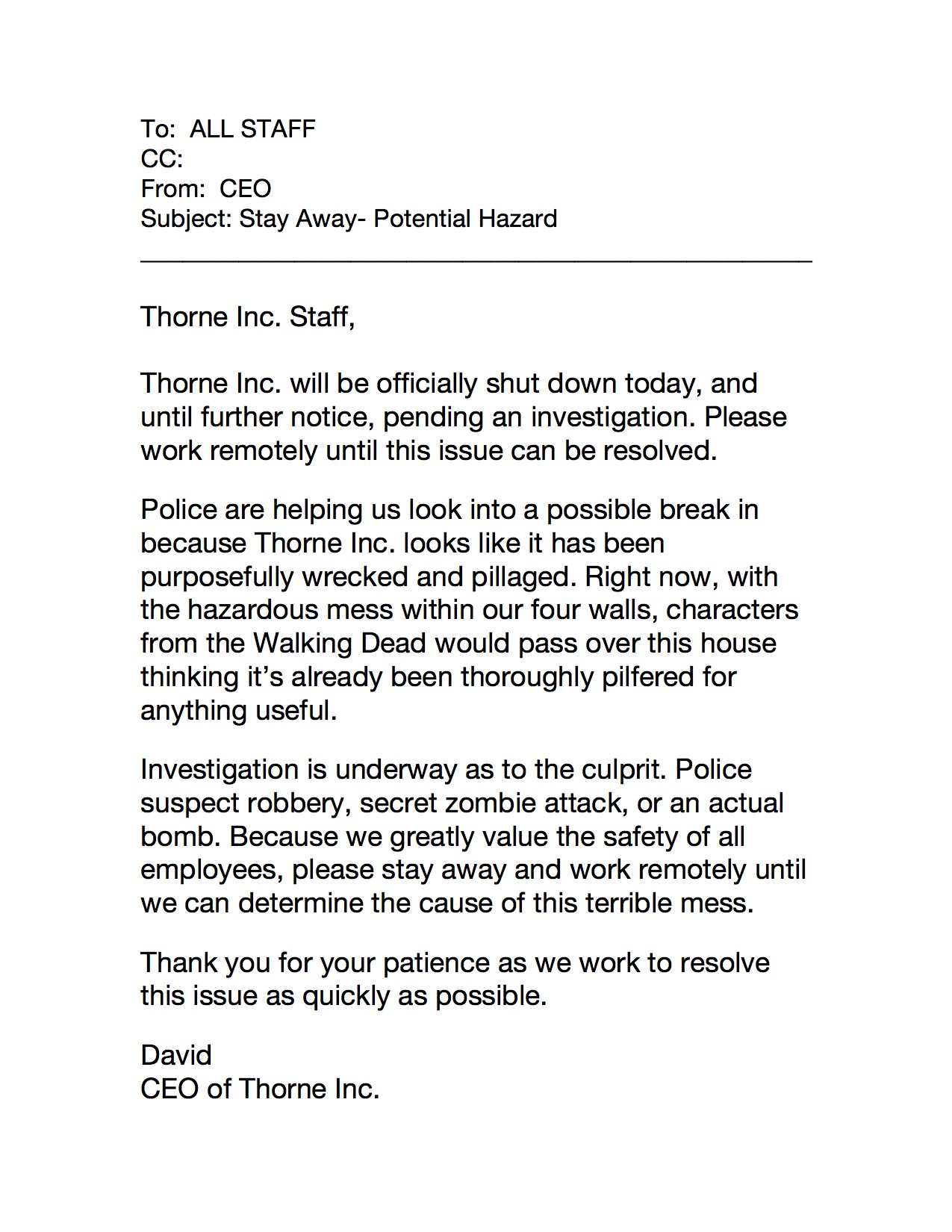 House Destroyed Email copy