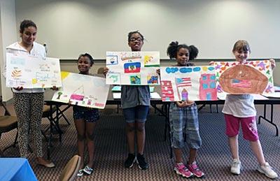 children with artwork