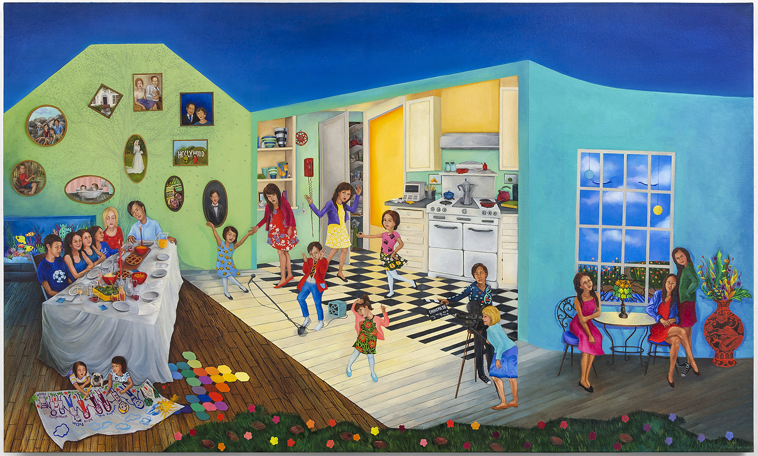 Stephanie Mercado Family Portrait 2018 oil on canvas 36 x 60""