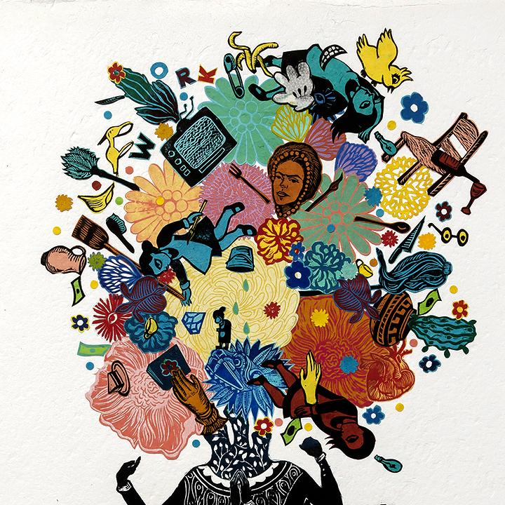 Stephanie Mercado Flourish Detail Monoprint Collage Relief Print 2018