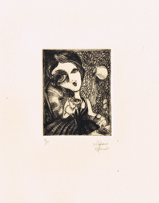 Stephanie Mercado, Alice drypoint, Ed. 10 7-1/2 x 6-1/2""
