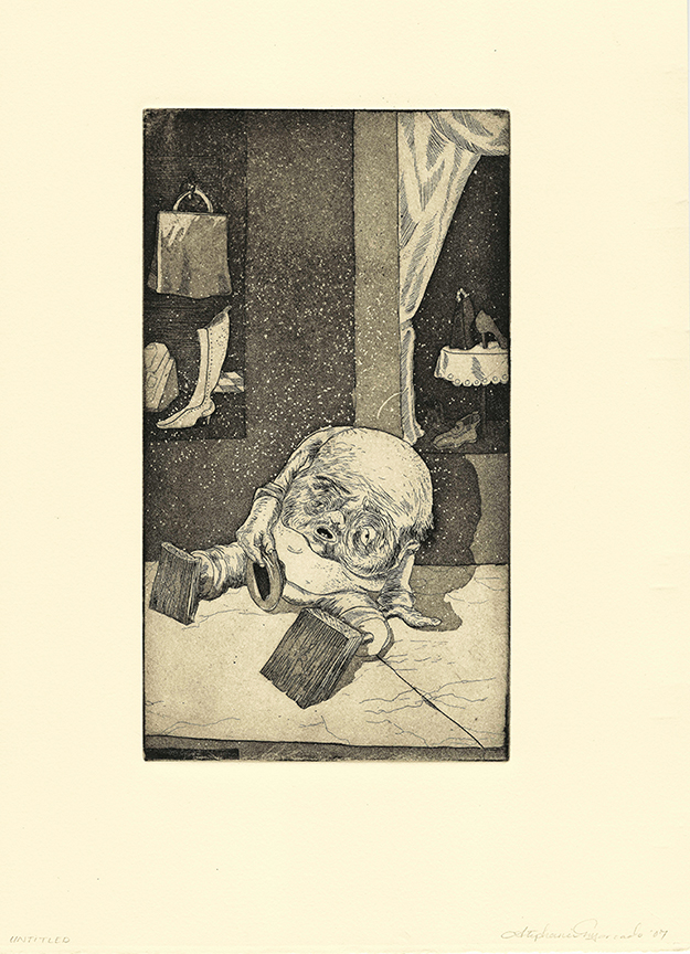 Stephanie Mercado, Untitled (Beggar in Mexico), 2007 aquatint etching 15 x 11""