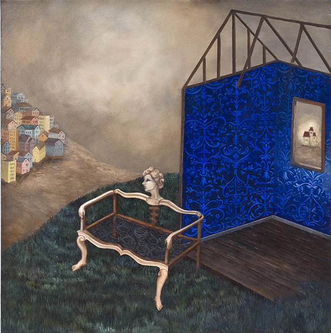 "Stephanie Mercado, Inside Out, 2010, oil on canvas, 22 x 22"""