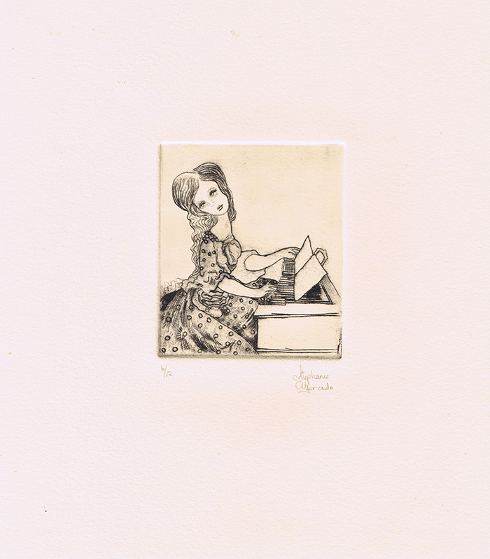 "Stephanie Mercado, The Organ, drypoint, Ed. 12 11 x 10"""
