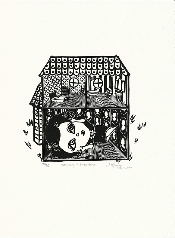 Stephanie Mercado, Outgrowing the Dream House linocut, Ed. 25, 15 x 11""