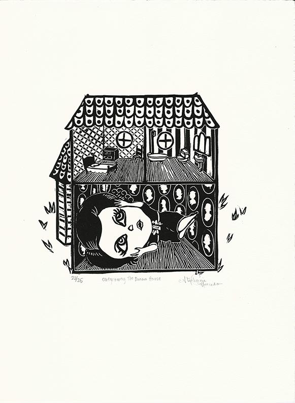 "Stephanie Mercado, Outgrowing the Dream House linocut, Ed. 25, 15 x 11"""