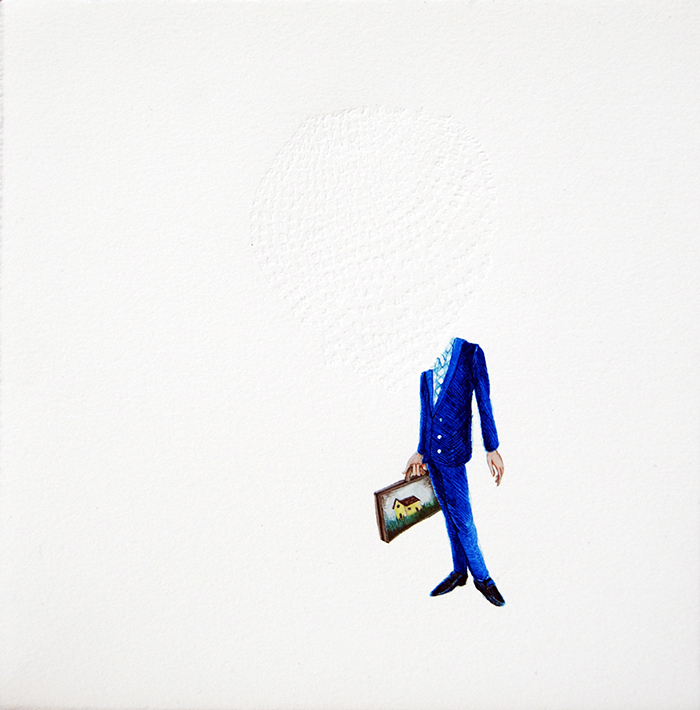 "Stephanie Mercado, Pay Day, 2014, gouache and embossed text on paper, 14 x 14"" Private Collection"