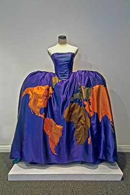 """Stephanie Mercado, Untitled (Dress with Map of the World), 2010, hand-stitched map pieces constructed with taffeta and satin, 60 x 36 x 12"""""""