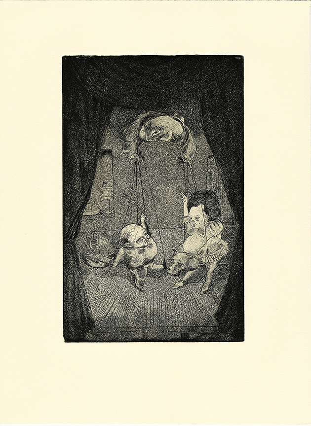 Stephanie Mercado, Le Bourgeiousie, 2007 aquatint etching 15 x 11""