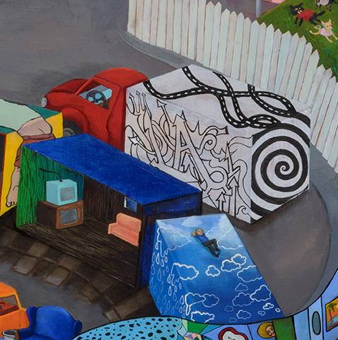 "Stephanie Mercado, Live Through This, 2007 - 2015, oil on wood panel, 63 x 120"""