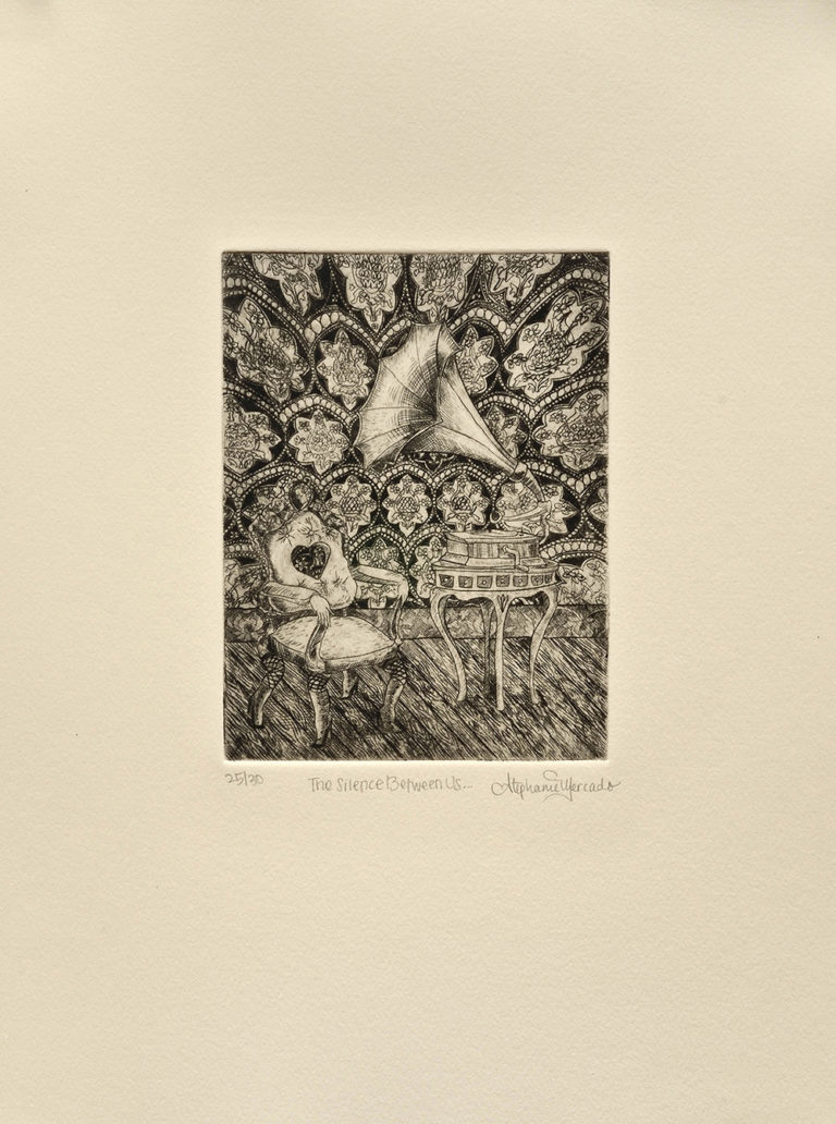 Stephanie Mercado, The Silence Between Us, 2008 drypoint, Ed. 30, 14 x 11""