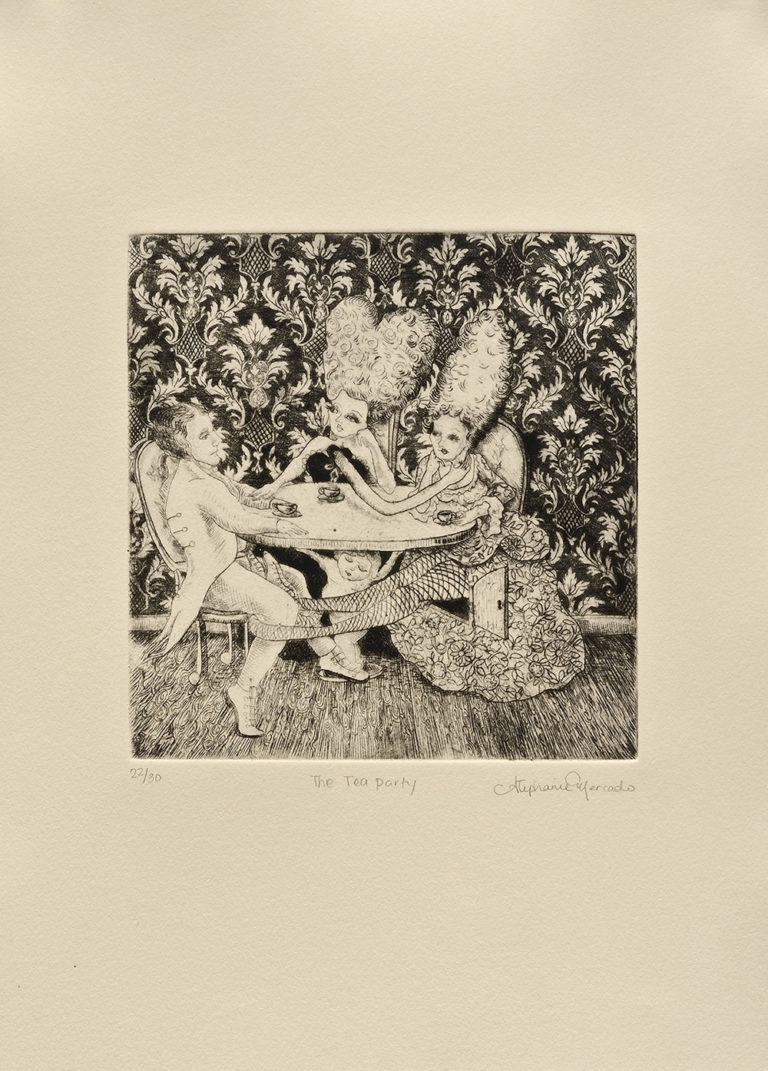 Stephanie Mercado, The Tea Party, 2008 drypoint, Ed. 30 14 x 11""