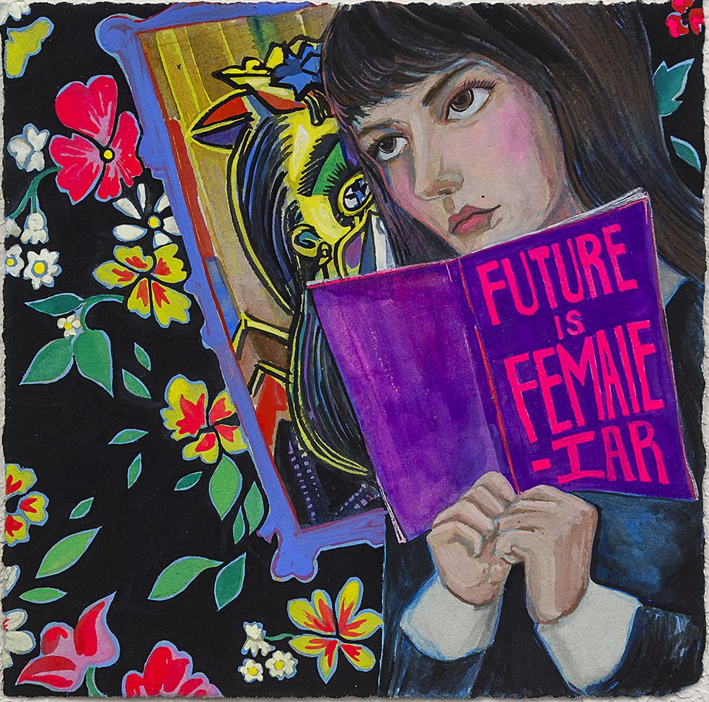 "Stephanie Mercado, The Future is Female-iar, gouache on paper, 8 x 8"""