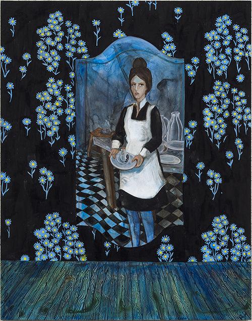 "Stephanie Mercado, The Resignation, 2017, gouache painting on yupo, 14 x 11"""