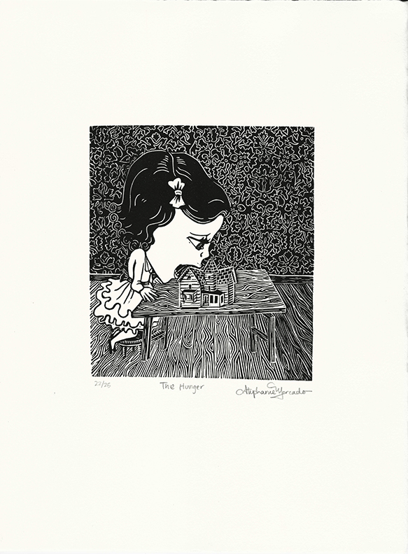 Stephanie Mercado, The Hunger linocut, Ed. 25, 15 x 11""
