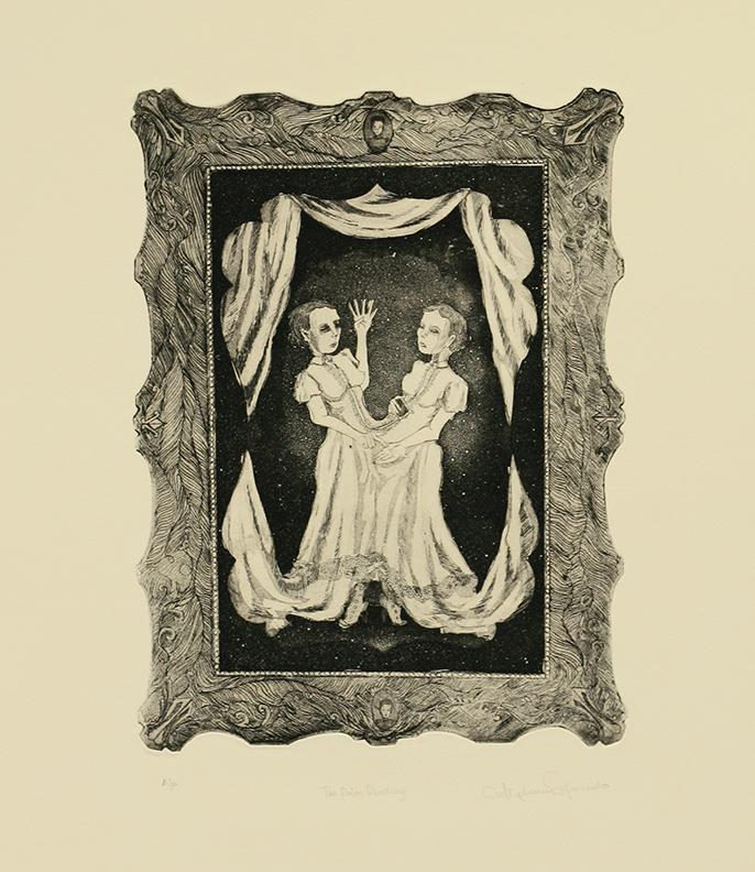 "Stephanie Mercado, The Palm Reading, 2007, aquatint etching, 15 x 11"""