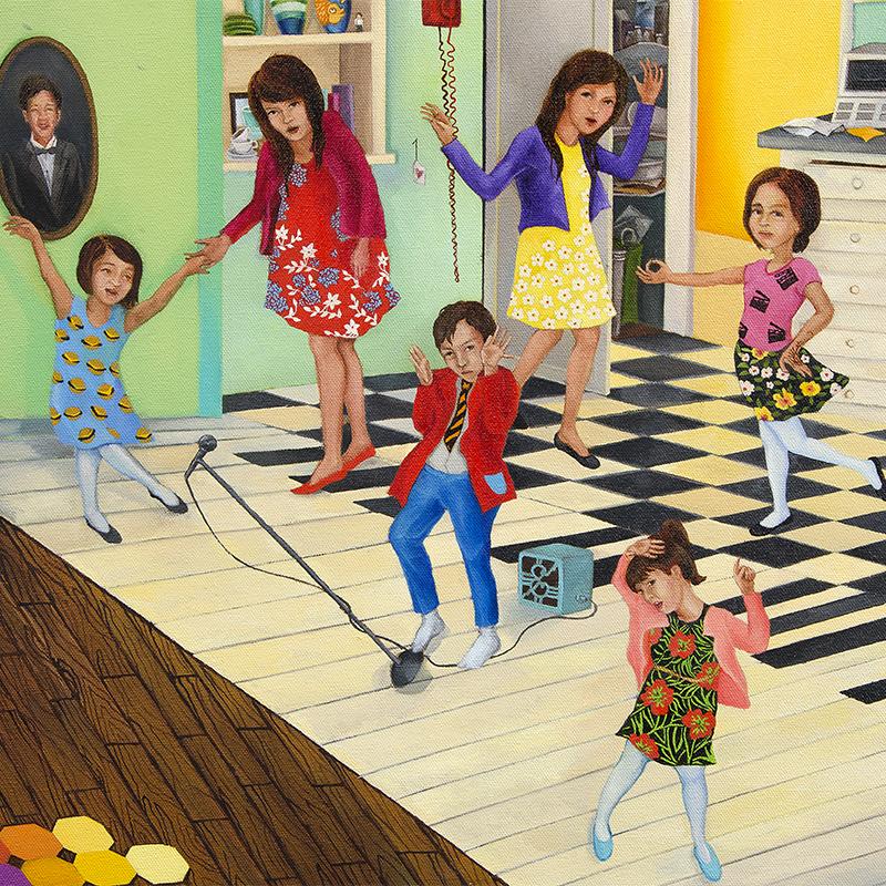 stephanie mercado, portrait of a family, oil on canvas, detail