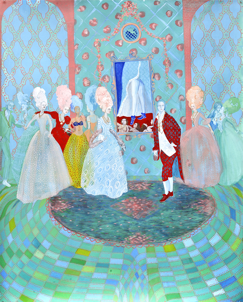 stephanie mercado the game gouache and gold leaf on paper 40 x 32