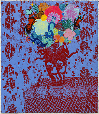 Mercado Stephanie Flourish Monoprint Blue Red 2018