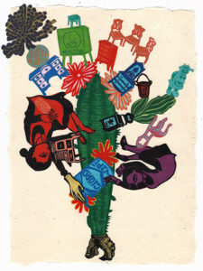 """Untitled IV (Red Maid, Purple Maid), 2020, relief print collage on hand-made paper 12 x 8-7/8"""""""